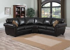 LOUIS SECTIONAL Bring a subtle touch of refinement to any living space with the Louis sectional. Dark brown leather-look fabric covers comfortably upholstered cushions and elegantly rolled arms and is finished with contrast stitching and nailhead trim. The Louis sectional includes a right and left facing loveseat and corner wedge, and an optional storage ottoman and armless accent chair. Included brocade accent pillows complete the look.