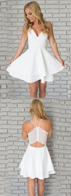 semi- formal dresses, white short homecoming gowns, chic a-line party dresses,