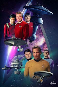 Star Trek with Kirk, Spock and McCoy. Star Trek Voyager, Star Trek Cast, Star Trek Beyond, Star Trek Characters, Star Trek Movies, Star Wars, Star Trek Posters, Star Trek Captains, Star Trek Images