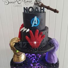 Thor Cake, Marvel Cake, Avenger Cupcakes, Avenger Cake, Pastel Avengers, Avengers Birthday Cakes, Birthday Cale, Thomas Cakes, Cake Competition