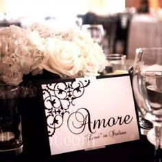 Every table is named a word meaning love in a different language!