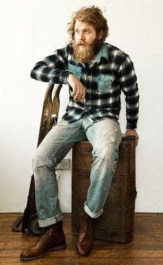 handsome full beard mustache beards bearded man men style flannel plaid boots #beardsforever