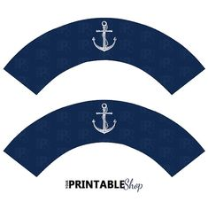 Printable Navy Blue Nautical Cupcake Wrappers by YourPrintableShop