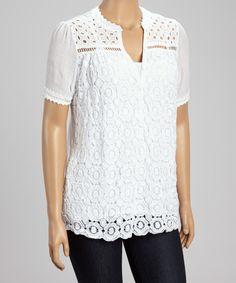 White Floral Crochet Top - Plus by IRE #zulily #zulilyfinds