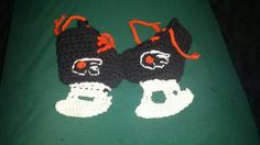 Philadelphia flyers ice skate baby bootied hand crocheted  $12 Alex Draven Designs on facebook and instagram