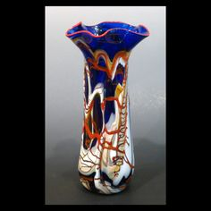 Blown Glass Vase Deep Rich Blue Red White Golden Tan by ArttoHold