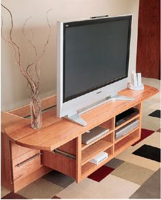 How to Build a Wall Mounted TV Media Center with Sliding Drawer – Free Woodworking Plan