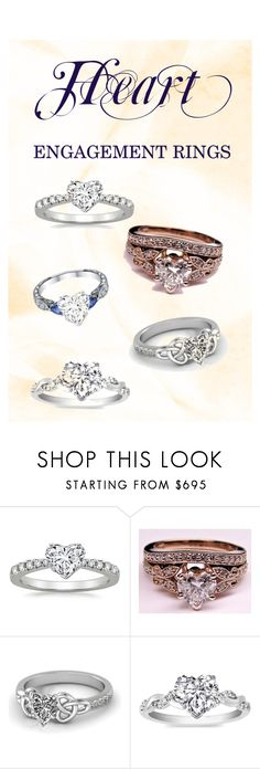 """""""Heart Engagement Rings"""" by mdc-diamonds ❤ liked on Polyvore"""