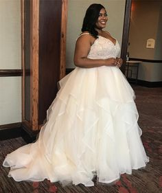You can have plus size wedding gowns like this one made to order in a  great price range.  The beaded bodice has spaghetti straps.  Changes to any part of the design are ok.  Custom wedding dresses as well as #replicas of couture designs are also options.  We can work from any picture you have.  Email us directly for pricing. DariusCordell.com