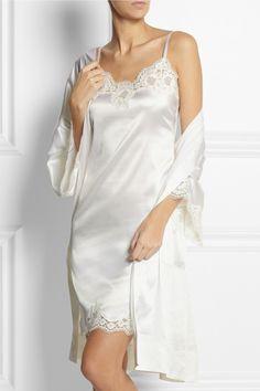 Dolce & Gabbana|Lace-trimmed stretch-silk satin chemise|NET-A-PORTER.COM