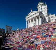 "paperdarts: "" farewell-kingdom: "" Helsinki's Cathedral, Finland - This astounding yarn bombing is the Guinness World Record attempt for the largest crocheted patchwork quilt in the world. Places Around The World, Oh The Places You'll Go, Great Places, Places To Travel, Beautiful Places, Around The Worlds, Beautiful Stairs, Helsinki, Yarn Bombing"