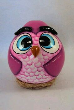 Owl Crafts, Diy Home Crafts, Clay Crafts, Decorative Gourds, Hand Painted Gourds, Paper Clay, Clay Art, Paper Mache Animals, Gourds Birdhouse
