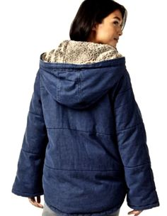 NEW Free People Blue Denim Quilted Faux Fur Lined Hooded Jacket Coat S $298 #FreePeople #quiltedfurlinedcoat