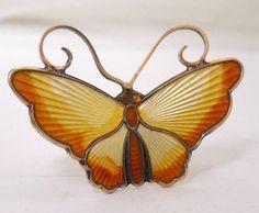 David Andersen Norway Sterling 925S Butterfly Pin/Brooch, David Andersen Scandinavian Jewelry, Guilloche Enamel, 60s Designer Spring Jewelry