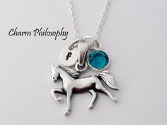 Horse Necklace 925 Sterling Silver Jewelry by charmphilosophy