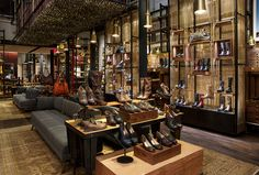 The Frye Company, said to be the oldest continuously operating shoemaker in the U., has finally opened a Frye store, a flags. Shoe Store Design, Retail Store Design, Retail Stores, Shoe Shop, New York Projects, The Frye Company, Retail Interior, Retail Space, Shop Interiors