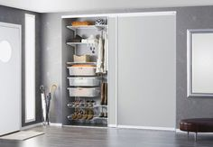 Storage solutions and made-to-measure sliding doors Entryway Closet, Shelving Solutions, Swedish Design, Classic Interior, Organizing Your Home, French Door Refrigerator, Closet Organization, Sliding Doors, Decoration