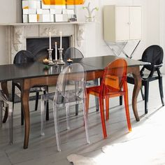 Halloween dining room! | Victoria Ghost chair by Philippe Starck