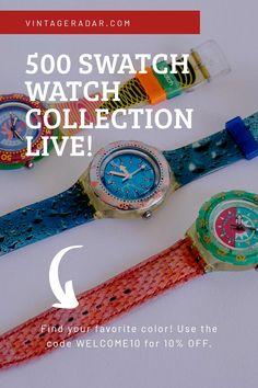 Grunge Fashion, Retro Fashion, Vintage Swatch Watch, Black Water, Vintage Models, Luxury Watches For Men, Vintage Watches, Minimalist Design, Vintage Pink