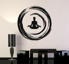 Vinyl Wall Decal Yoga Buddhist Meditation Enso Circle Bedroom Stickers (ig3474)