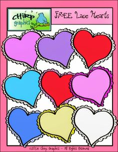 Classroom Freebies Too: Free Lace Hearts Clip Art Set for Valentine's Day