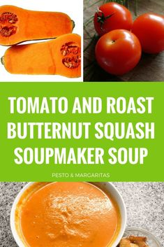 Tomato and Roast Butternut Squash Soupmaker Soup - Grab your soup maker to create this simple soup using tomato and butternut squash. The soup has a little kick with a touch of chilli and can be adapted easily to a variety of different tastes. Pin to try Fruit Recipes, Gourmet Recipes, Soup Recipes, Healthy Recipes, Recipe Cover, Roasted Butternut Squash, Homemade Soup, Perfect Food, Different Recipes