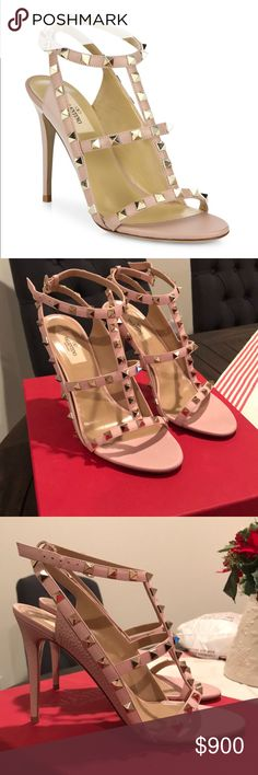 Valentino Rockstud Leather Sandals NIB Valentino sandals, the color is Poudre - looks pink in the picture but is more blush when worn. Bought these for my wife but they were the wrong size and couldn't return. Valentino Shoes Sandals