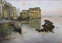 Gaetano Esposito  (Salerno, 1858 – Sala Consilina, 1911)  Palazzo Donn'Anna a Posillipo, 1893