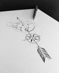 Travel, Compass, World - Anstax - Tattoos - # TĂ . - Travel, Compass, World – Anstax – Tattoos – travel # tattoos - Tatoo Art, Tattoo Drawings, Body Art Tattoos, Small Tattoos, I Tattoo, Tatoos, Inspiration Tattoos, Globus Tattoos, Arrow Tattoo