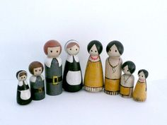 Thanksgiving Set - Pilgrim and Native American Families - Peg Dolls - North America History USA Educational Toy