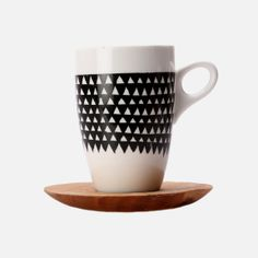 Love Milo - Triangle Mug & Saucer – Black & White Love Milo, Triangles, Wood Grain, Hand Carved, Coffee Mugs, Porcelain, Carving, Tea, Black And White