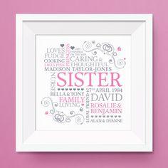 Sister word art, sister print, personalised gift, gift for sister