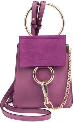 Chloe Faye Small Leather Bracelet Bag Purple #ad