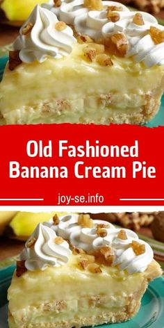 Ingredients: 9 in pie shells, baked 3 cup whole milk cup white sugar cup all-purpose flour tsp salt 3 egg yolk, slightly beaten 2 tbsp butter 1 tsp vanilla 3 banana DIRECTIONS: Prep 15 min Cook 20 min Ready 35 min Have baked 9 Banana Pudding Recipes, Banana Pie Recipe, Bananna Cream Pie Recipe, Banana Cream Pie Cake, Homemade Banana Cream Pie, Sugar Cream Pie Recipe, Cream Pie Recipes, Sugar Pie, Sweet Recipes