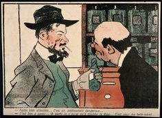 An apothecary gives a dangerous medicine to a man harbouring murderous thoughts about his mother-in-law. Colour photomechanical reproduction of a lithograph, c. 1900. | Wellcome Collection
