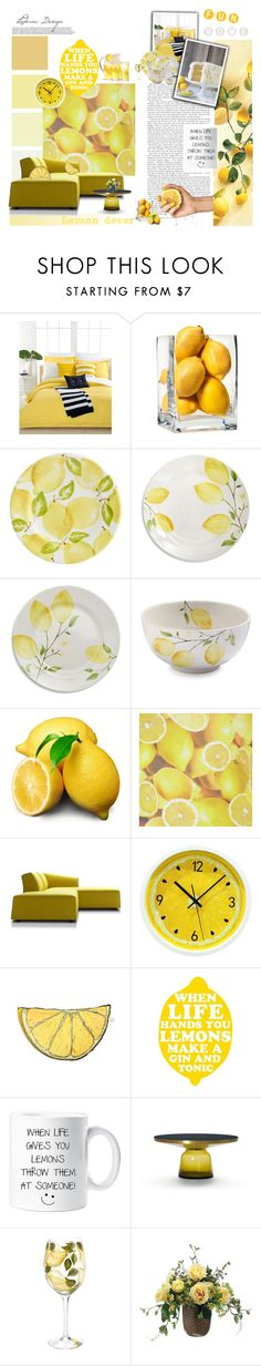 """""""Lemon decor"""" by ledianaaaaa on Polyvore featuring interior, interiors, interior design, home, home decor, interior decorating, Lacoste, Threshold, Pier 1 Imports and Sur La Table"""