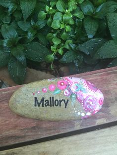 This sweet oval shaped rock is delicately decorated with rosebuds and bubbles. You special person's name is on the front and 'You Rock! You can pick from several different color schemes Pebble Painting, Pebble Art, Stone Painting, Rock Painting, Stone Crafts, Rock Crafts, Diy Arts And Crafts, Painted Rocks, Hand Painted