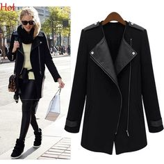 0e3acadb5d Winter Fall Formal Office Women Coat Parka Casual Wool Outwear Contrast PU  Leather Patchwork Jacket Oblique
