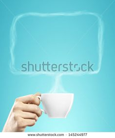 cup of coffee in hand with bubble talk