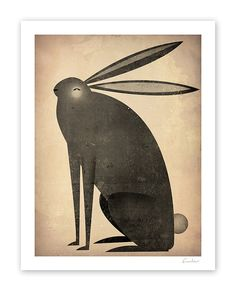 The Black Rabbit 12x12 giclee print by Ryan Fowler, Signed.    (THIS ITEM IS ALSO AVAILABLE AS A FRAMED PRINT or READY-TO-HANG STRETCHED CANVAS.