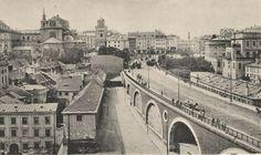 Początek XX wieku. Wiadukt Pancera i nieistniejąca obecnie zabudowa Mariensztatu.