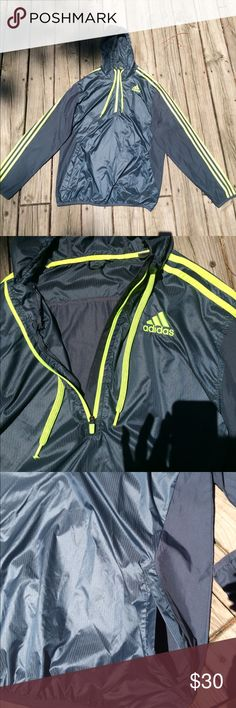 Adidas Lightweight Hooded Pullover Great Condition! Has pockets & working zipper. adidas Jackets & Coats