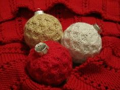 Handmade knitted Christmas ornaments and handmade red knitted scarf