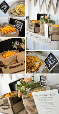 Popcorn Buffets are another option to Candy Buffets.  Chocolate Popcorn is always a hit.... Love the use of suite cases and burlap