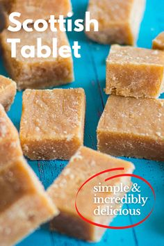 Who's in the mood for something sweet and simple? Scottish Tablet may be the right idea! Scottish Tablet or 'Taiblet', in Scots, is a traditional Scottish confection made from sugar, butter and condensed milk. It can also be found under the name of the 'Swiss Milk tablet' since condensed milk is sometimes called Swiss Milk.  #scottishrecipe, #traditionalscottishfood, #scottishdessert