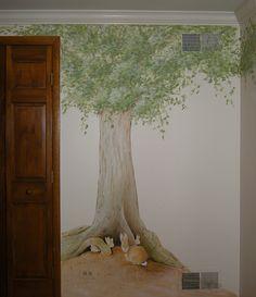 Peter Rabbit Baby Nursery Mural https://pinterest.com/picturesnow/nursery-ideas/