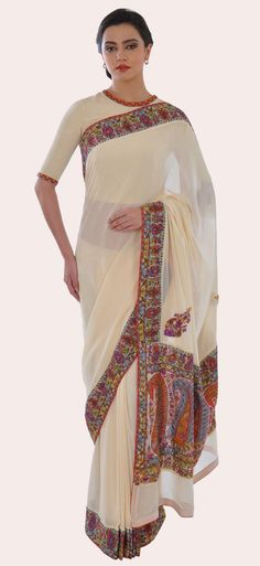 Cream Kashmiri Handcrafted Kalamkari and Sozni Embroidered Saree