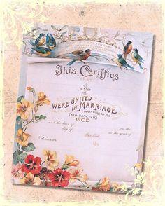 Spring Birds Shabby Marriage Wedding Certificate 8x10 Digital Print , Altered Art, Collage, Scrapbooking, Cardmaking. $3.50, via Etsy.