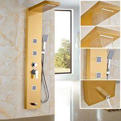 $183. Golden Shower Panel Stainless Steel Rain Waterfall Shower Set Massage System…