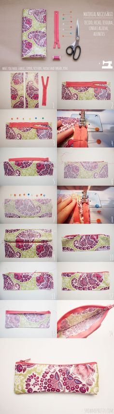 diy pencil case - could be made with scraps, or material pulled from almost anything at all. Also could be makeup bag case. Sewing Hacks, Sewing Tutorials, Sewing Patterns, Fabric Crafts, Sewing Crafts, Sewing Projects, Tape Crafts, Pochette Diy, Diy Pencil Case